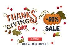 与叶子的手拉的感恩销售横幅模板, pumpki 免版税库存图片