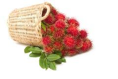 与叶子的新鲜的红毛丹在篮子 库存照片