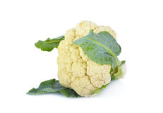 与叶子的新鲜的花椰菜在白色背景 库存图片