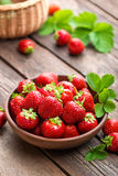 与叶子的新鲜的水多的草莓 草莓 库存照片