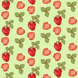 与叶子的无缝的样式夏天草莓在绿色背景 皇族释放例证