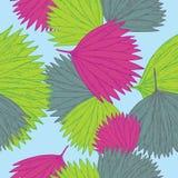 与叶子的无缝的样式由热带植物学在colorfull树荫下启发了 皇族释放例证