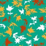 与叶子的无缝的样式 图库摄影