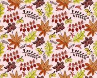 与叶子的无缝的秋天传染媒介样式 皇族释放例证