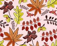 与叶子的无缝的秋天传染媒介样式 库存例证