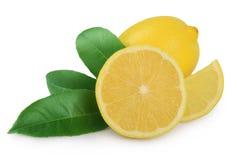与叶子的柠檬在白色 库存图片