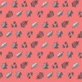 与叶子的样式在桃红色背景 免版税库存图片