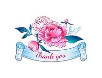 与叶子的桃红色牡丹 丝带感谢您 向量 库存照片