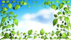 与叶子的植物样式在天空背景增长 向量例证