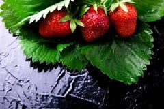 与叶子的湿草莓在黑背景 顶视图 复制空间 库存照片