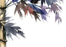与叶子的热带竹子 向量例证