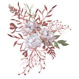 与叶子的玫瑰在花束 背景查出的白色 库存照片