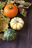 与叶子的秋天南瓜在木板 图库摄影
