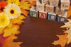 与叶子的秋天框架 免版税库存图片