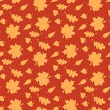 与叶子的秋天背景 不尽的无缝的样式 免版税库存图片