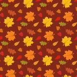 与叶子的秋季无缝的样式在棕色背景传染媒介例证 库存图片