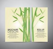 与叶子的竹子 小册子业务设计模板或卷起 库存例证
