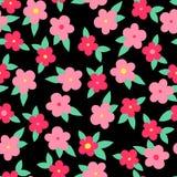 与叶子的简单的五颜六色的花在黑,无缝的样式,传染媒介 向量例证