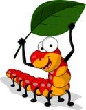 与叶子的红色蠕虫动画片 免版税图库摄影