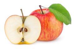 与叶子的红色黄色苹果和半 图库摄影