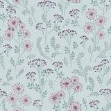 与叶子的花卉模式 装饰草本分支无缝的后面 免版税库存图片