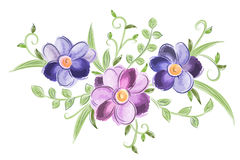 与叶子的花卉水彩装饰品 库存图片