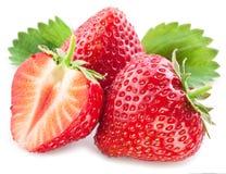 与叶子的草莓。 库存图片