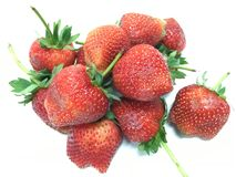 与叶子的草莓 库存照片