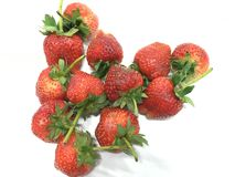与叶子的草莓 免版税库存照片
