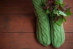 与叶子的被编织的羊毛温暖的袜子 免版税图库摄影
