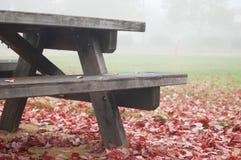 与叶子的野餐桌在秋天 免版税库存照片