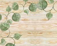 与叶子的风景水彩背景在木背景 皇族释放例证