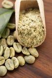 与叶子的绿色咖啡豆 免版税库存照片