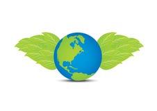 与叶子翼的地球 免版税库存照片