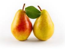 与叶子,特写镜头的成熟水多的梨 免版税库存图片