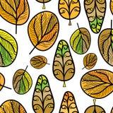 与叶子,秋天背景的一个无缝的样式 库存例证