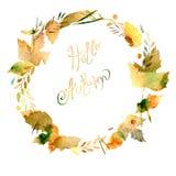 与叶子,莓果,分支的秋天框架 免版税库存图片