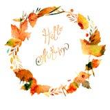 与叶子,莓果,分支,秋天元素的秋天框架 说明你好秋天 水彩纹理黄色,褐色,茶黄,红色, 免版税图库摄影