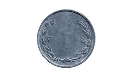 与叶子组合图案的空的硬币设计师的 免版税库存图片