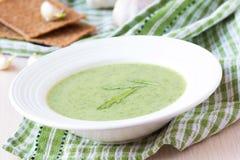 与叶子rukola,芝麻菜的绿色大蒜奶油汤,健康 免版税库存图片