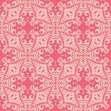 与叶茂盛瓣无缝的样式背景例证的带红色桃红色基地 库存例证