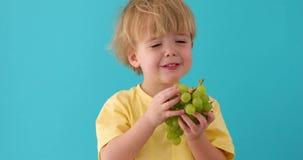 与吃葡萄的孩子的健康吃概念 股票视频