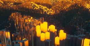 与各种各样灼烧发光的抽象五颜六色的例证和在阴霾的透亮对象 向量例证