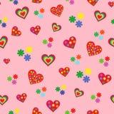 与各种各样的五颜六色的心脏的无缝的样式 图库摄影