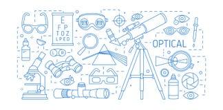 与各种各样的光学设备的水平的横幅,分散性棱镜,玻璃,肉眼,视觉透镜画与等高 向量例证
