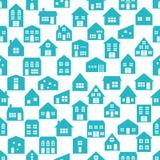 与各种各样的动画片房子的无缝的样式 免版税库存照片