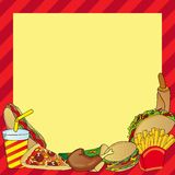 与各种各样的快餐膳食的框架 免版税库存照片
