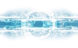 与各种各样的技术元素的抽象技术背景概念 例证传染媒介 免版税库存照片