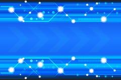 与各种各样的技术元素的蓝色技术传染媒介背景 免版税库存图片