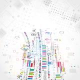 与各种各样的技术ele的抽象技术背景 免版税库存图片